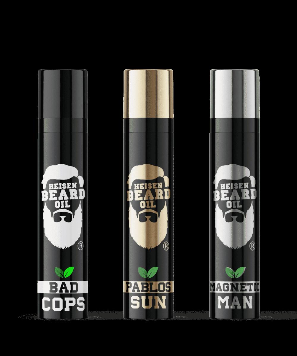 Bartöl 3in1 Serie von Heisen Beard Oil mit 5 pflegenden Ölen