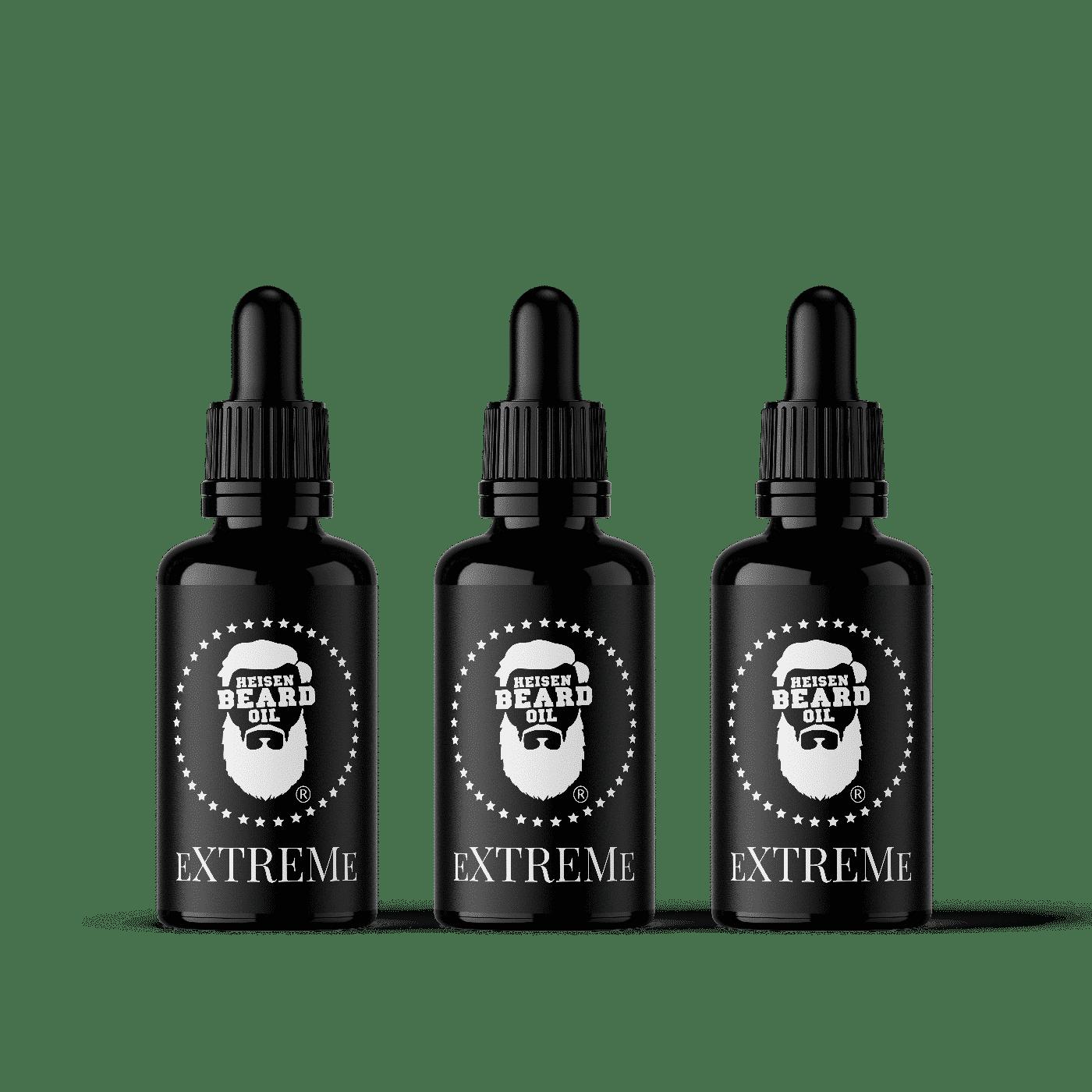 Bartöl Extreme Kur - 3x 30ml - Hoher Rizinusgehalt für schnelles Bartwachstum
