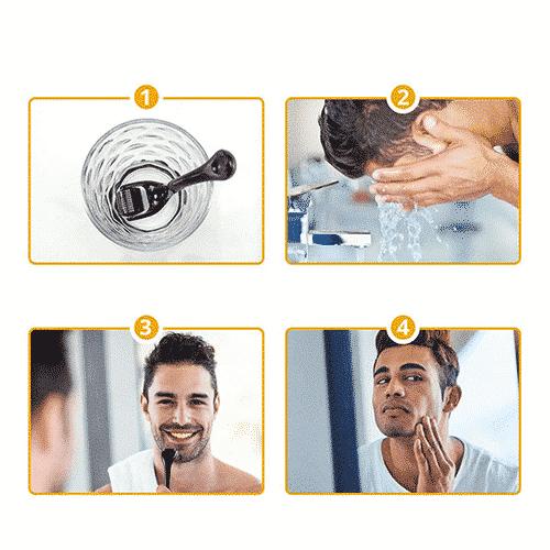 Anwendung Dermaroller Bart HBG mit Bart Serum HBG